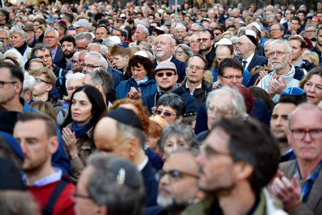 More than 2,000 Jews and non-Jews in Berlin wore the traditional skullcap to show solidarity with