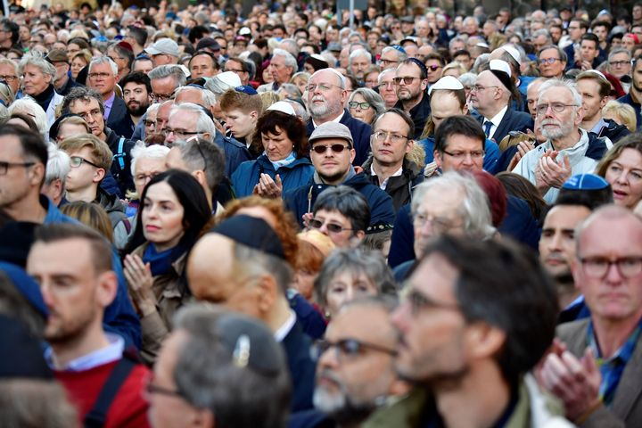 More than 2,000 Jews and non-Jews in Berlin wore the traditional skullcap to show solidarity with Jews.