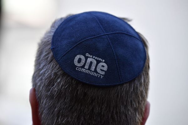 A participant of the 'Berlin Wears Kippa' rally on April 25, 2018.
