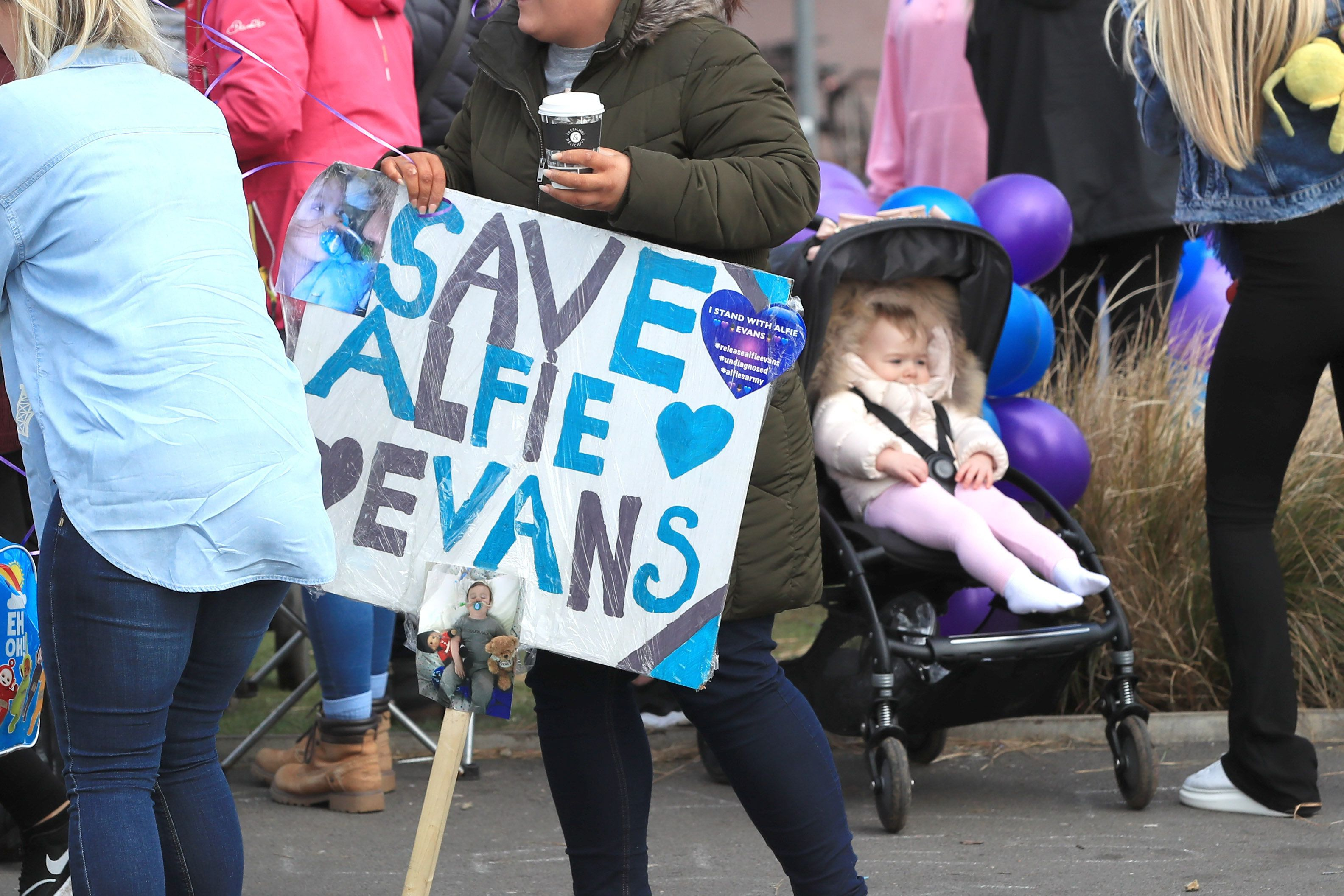 Protestors gather outside Alder Hey Children's Hospital in Liverpool whilst they wait for the latest decision on Alfie Evans