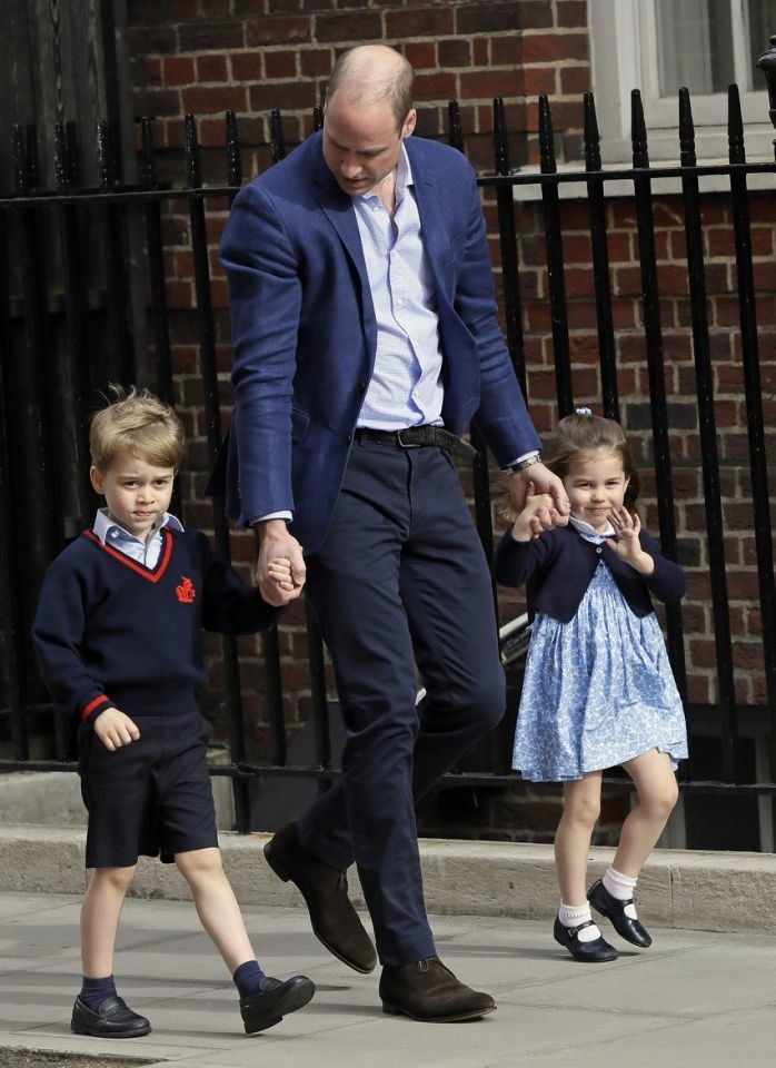 Prince William returns to St. Mary's Hospital in London on Monday with Prince George and Princess Charlotte.