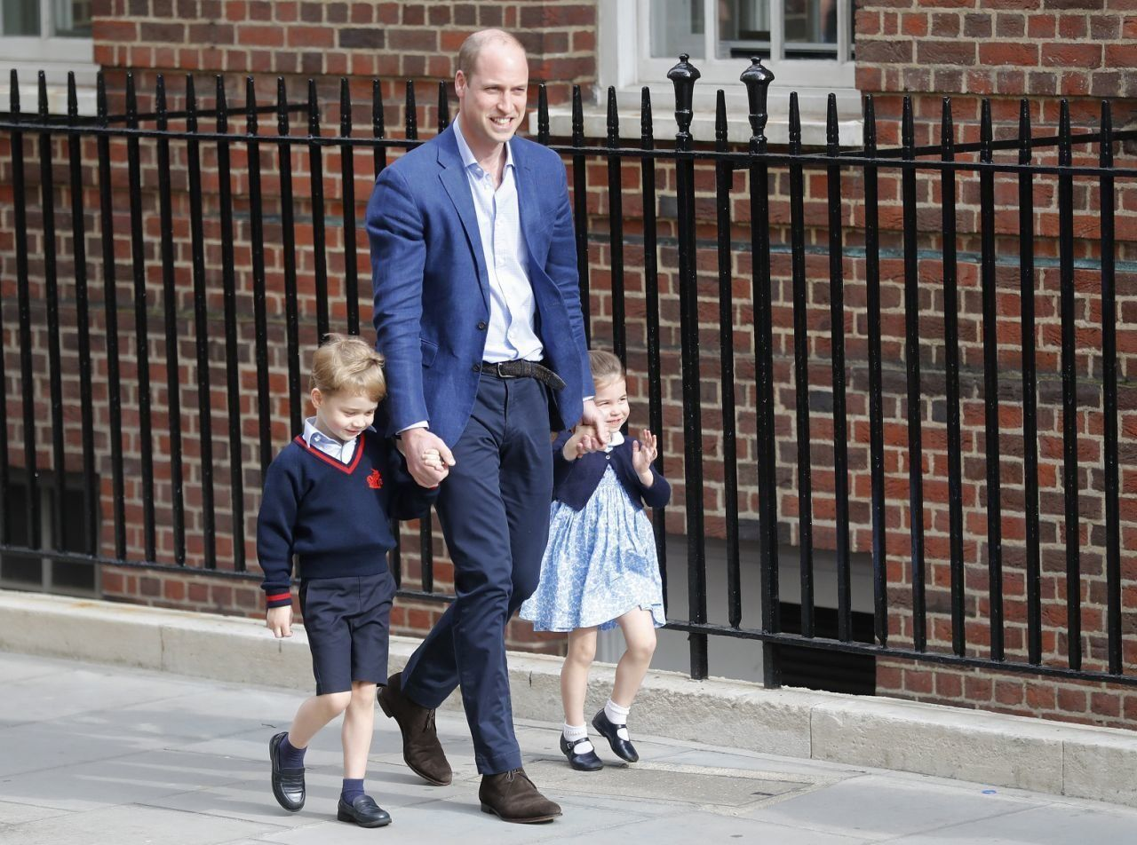 The royal family arrives at St. Mary's Hospital, where the Duchess of Cambridge gave birth Monday morning to a healthy baby boy — a third child for Kate and Prince William and fifth in line to the British throne.