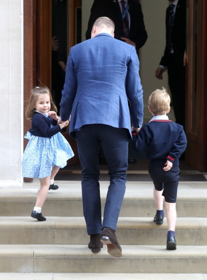 Prince William brings Princess Charlotte and Prince George to the Lindo Wing at St. Mary's Hospital in London to meet their new baby brother.