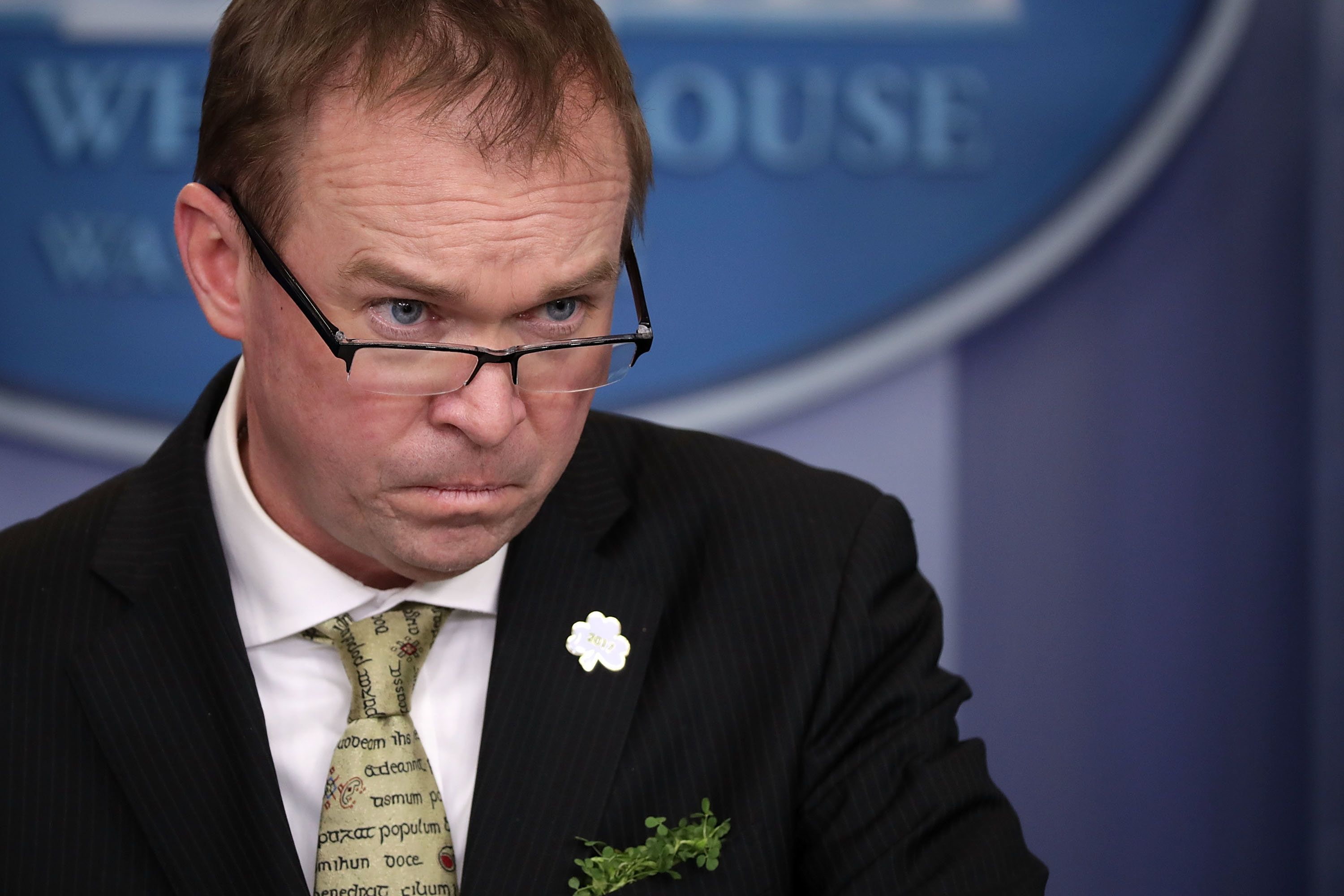 WASHINGTON, DC - MARCH 16:  Office of Management and Budget Director Mick Mulvaney takes questions from reporters during a briefing in the Brady Press Briefing Room at the White House March 16, 2017 in Washington, DC. Mulvaney took questions about President Donald Trump's federal budget blueprint which was released Thursday.  (Photo by Chip Somodevilla/Getty Images)