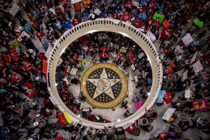 Teachers demand increased public school funding in the state Capitol in Oklahoma City on April 3.