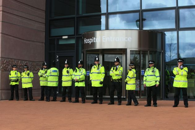 Police block the entrance to Alder Hey Children's Hospital as protesters gathered after the European Court of Human Rights rejected an appeal against the decision to end life-support for Alfie Evans