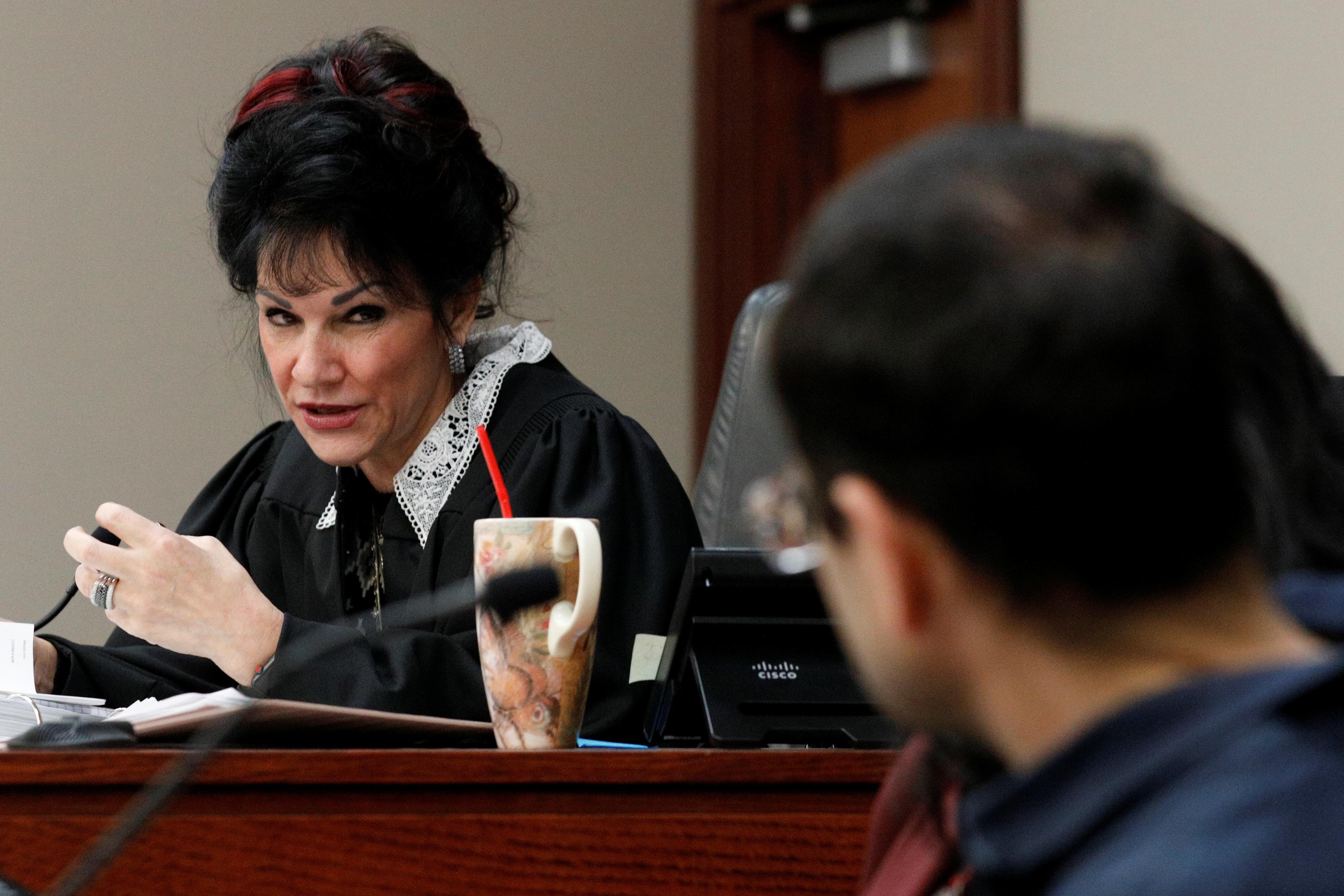 Circuit Court Judge Rosemarie Aquilina addresses Larry Nassar on Jan. 18, 2018, during his sentencing hearing in Lansing, Mic