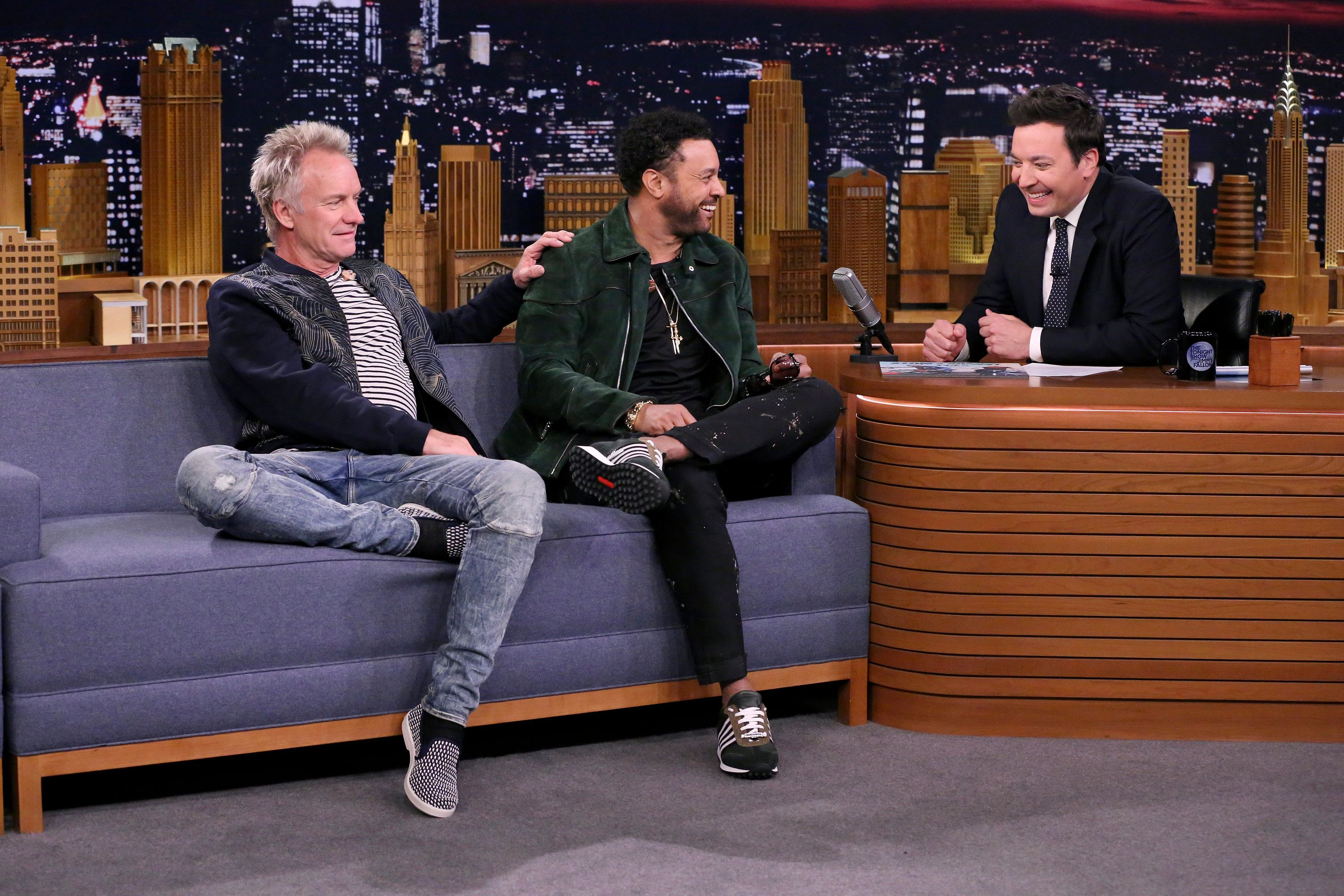 THE TONIGHT SHOW STARRING JIMMY FALLON -- Episode 0856 -- Pictured: (l-r) Musicians Sting & Shaggy during an interview with host Jimmy Fallon on April 23, 2018 -- (Photo by: Andrew Lipovsky/NBC/NBCU Photo Bank via Getty Images)