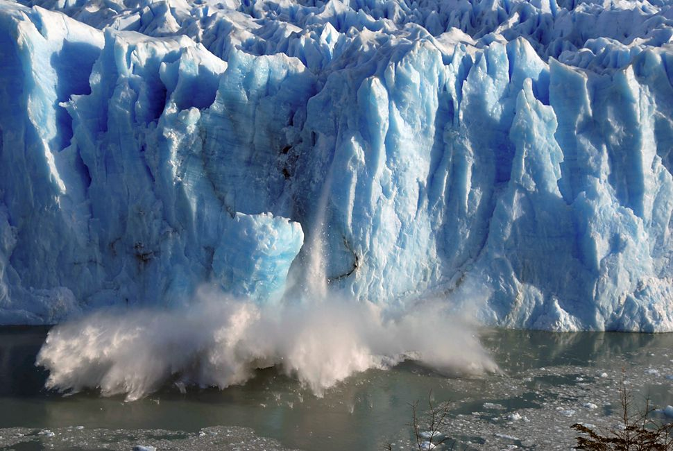 Splinters of ice coming off the Perito Moreno glacier in Patagonia, southern Argentina. Supporters of extreme technology