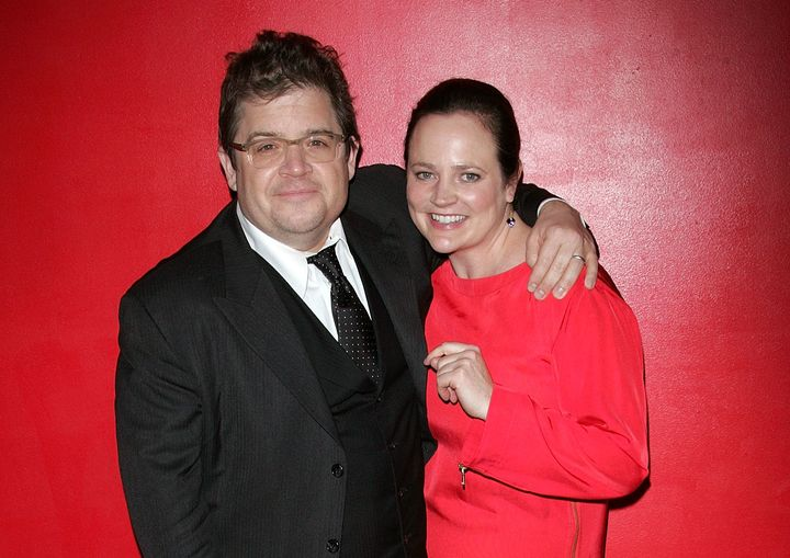 Comedian Patton Oswaltwith his wife, Michelle McNamara, in 2011. McNamara, a crime writer, died before her book about t