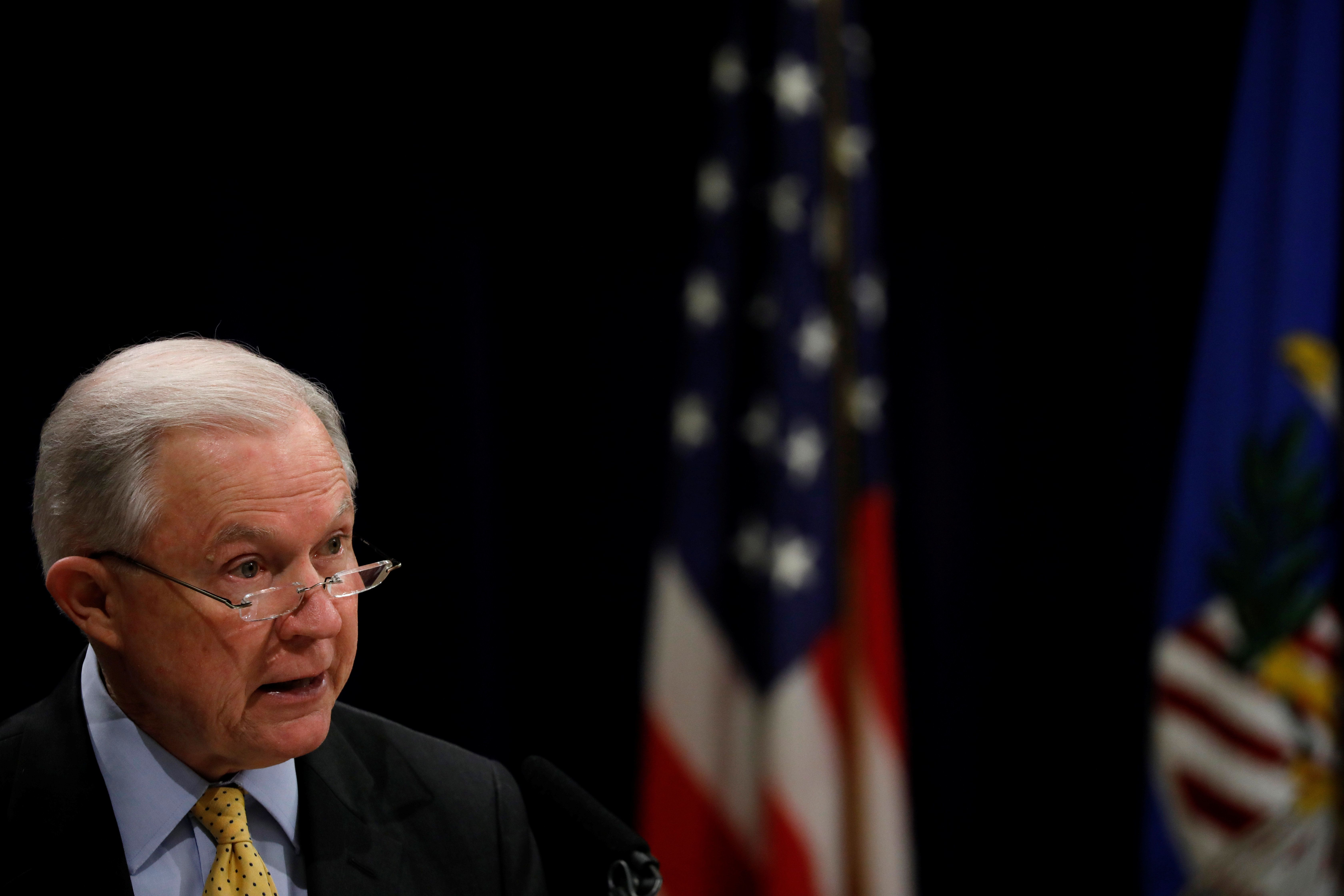 United States Attorney General Jeff Sessions speaks at a summit about combating human trafficking at the Department of Justice in Washington, U.S., February 2, 2018. REUTERS/Aaron P. Bernstein