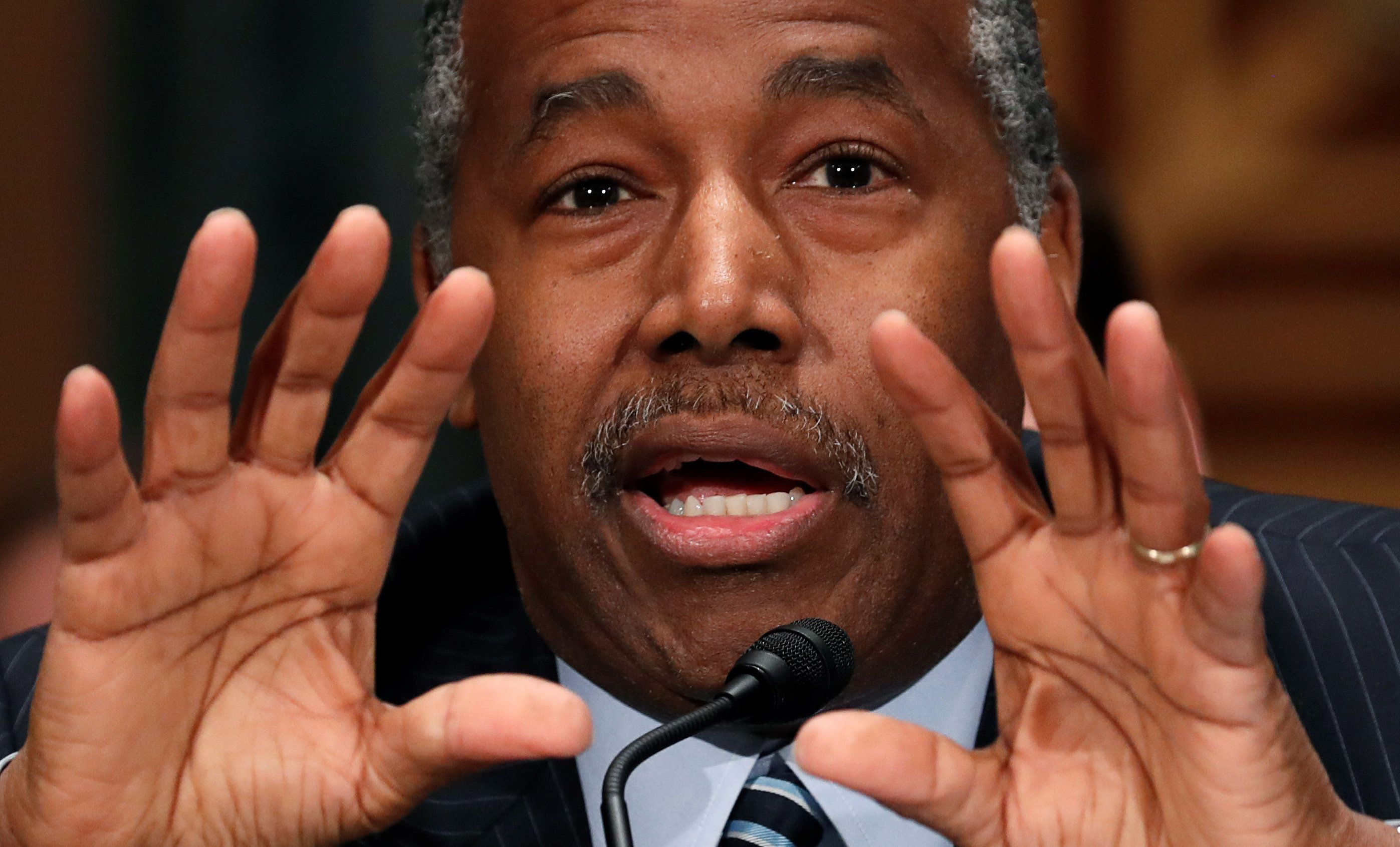 """U.S. Secretary of the Department of Housing and Urban Development Ben Carson testifies before a Senate Banking Committee hearing entitled """"Oversight of HUD"""" on Capitol Hill in Washington, U.S., March 22, 2018.  REUTERS/Kevin Lamarque"""