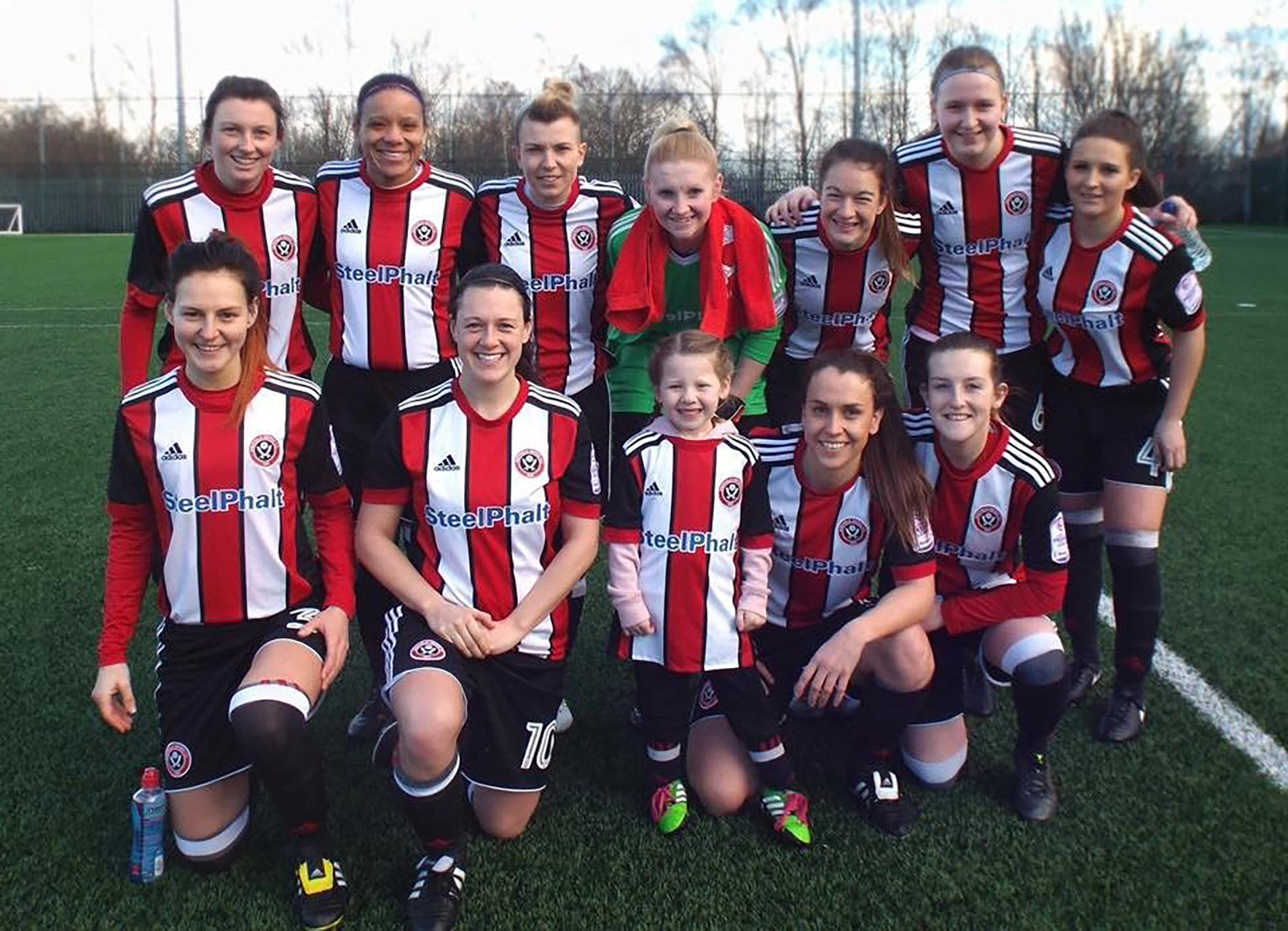 Jessie Adams with SUFC Ladies team.