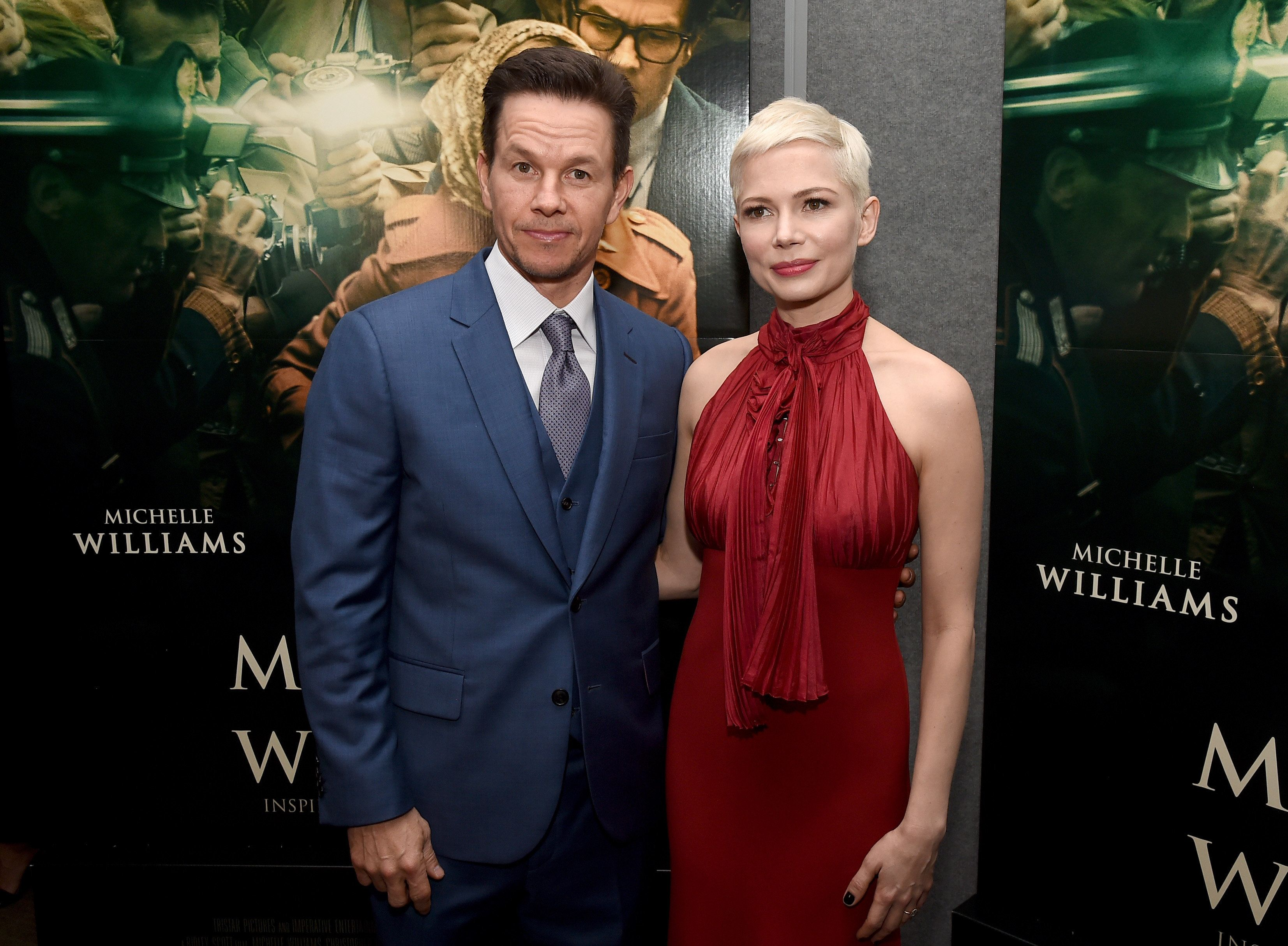 "Wahlberg with ""All The Money In The World"" co-star Michelle Williams at the premiere on Dec. 18, 2017, in Beverly Hills, Cali"