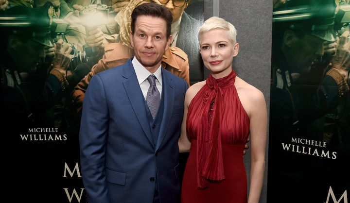 """Wahlberg with """"All The Money In The World"""" co-star Michelle Williams at the premiere on Dec. 18, 2017, in Beverly Hills, Cali"""
