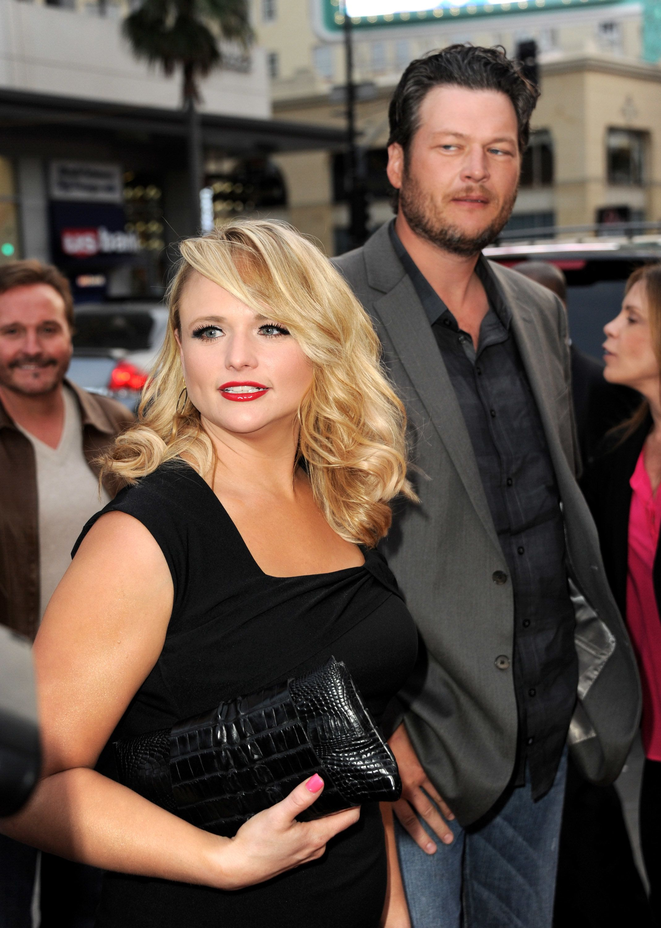 LOS ANGELES, CA - MARCH 20:  Singers Miranda Lambert (L) and her husband Blake Shelton arrive at a screening of NBC's 'The Voice' Season 4 at the Chinese Theatre on March 20, 2013 in Los Angeles, California.  (Photo by Kevin Winter/Getty Images)