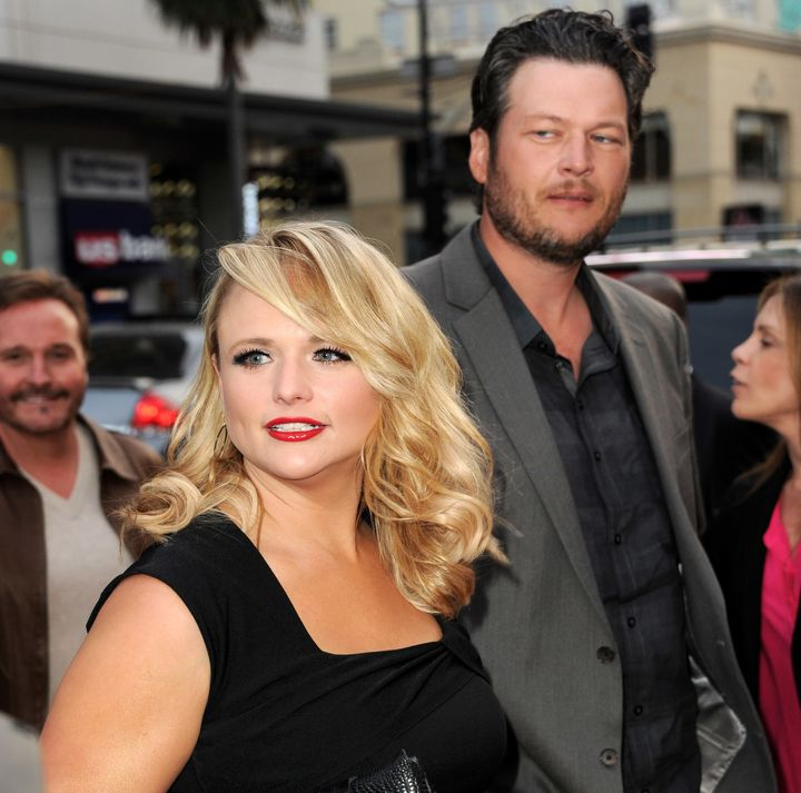 "Miranda Lambert and Blake Shelton arrive at a screening of NBC's ""The Voice"" in 2013."
