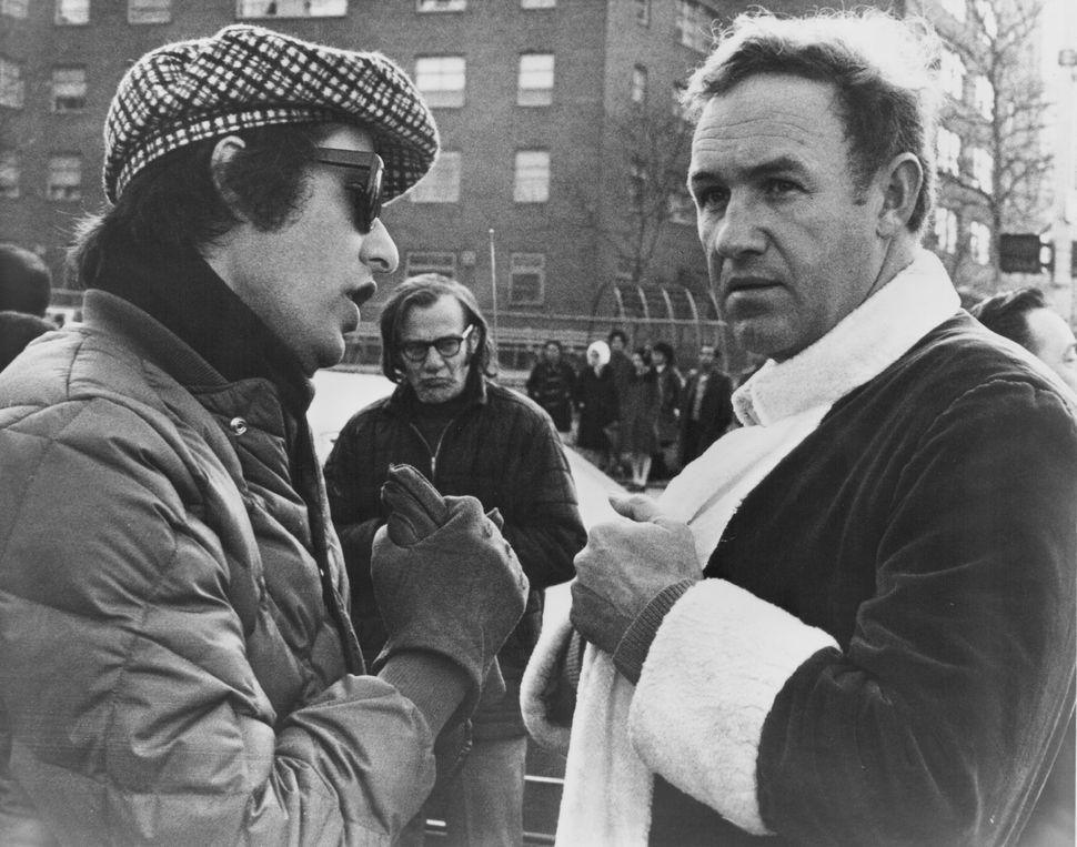 "William Friedkin and Gene Hackman on the set of ""The French Connection."""