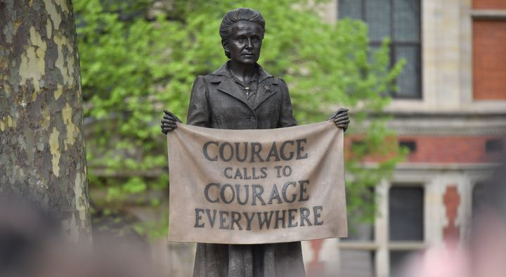A statue of suffragette Millicent Fawcett was unveiled in Parliament Square in London, England, on April 24, 2018.