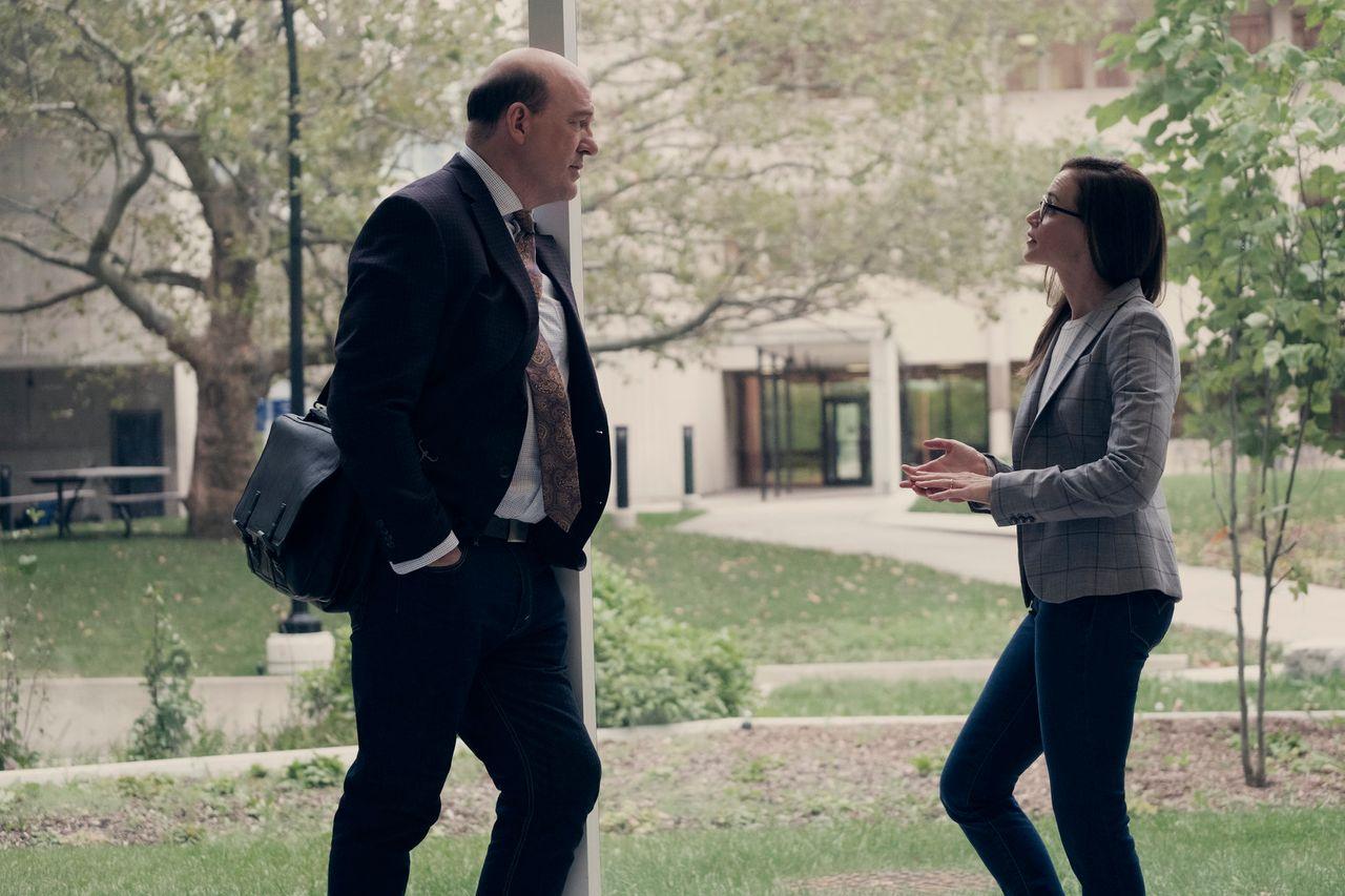 """Emily (Alexis Bledel) speaks to Dan (John Carroll Lynch) in a flashback in Episode 2 of Season 2 of """"The Handmaid's Tale."""""""