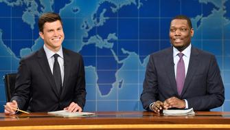 SATURDAY NIGHT LIVE -- 'Ryan Gosling' Episode 1726 -- Pictured: (l-r) Colin Jost, Michael Che during 'Weekend Update' in studio 8H on September 30, 2017 -- (Photo by: Will Heath/NBC/NBCU Photo Bank via Getty Images)