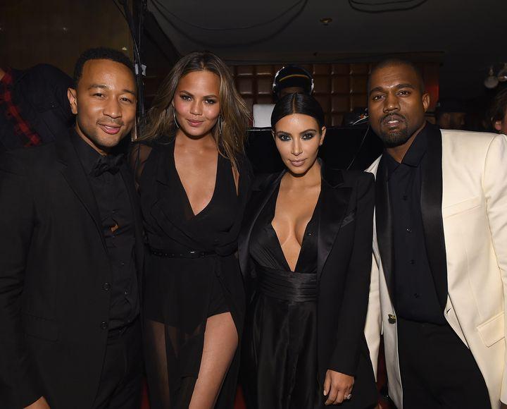 John Legend, Chrissy Teigen, Kim Kardashian and Kanye West together in 2015.