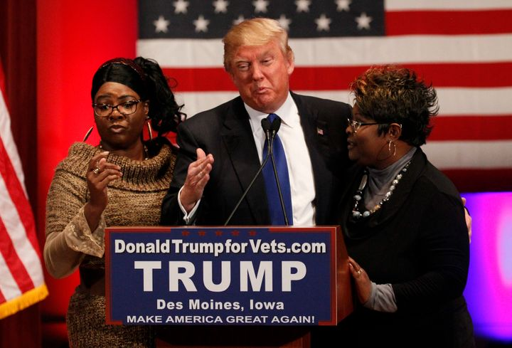 "The YouTube stars known as ""Diamond and Silk"" appear with Donald Trump during his presidential campaign."