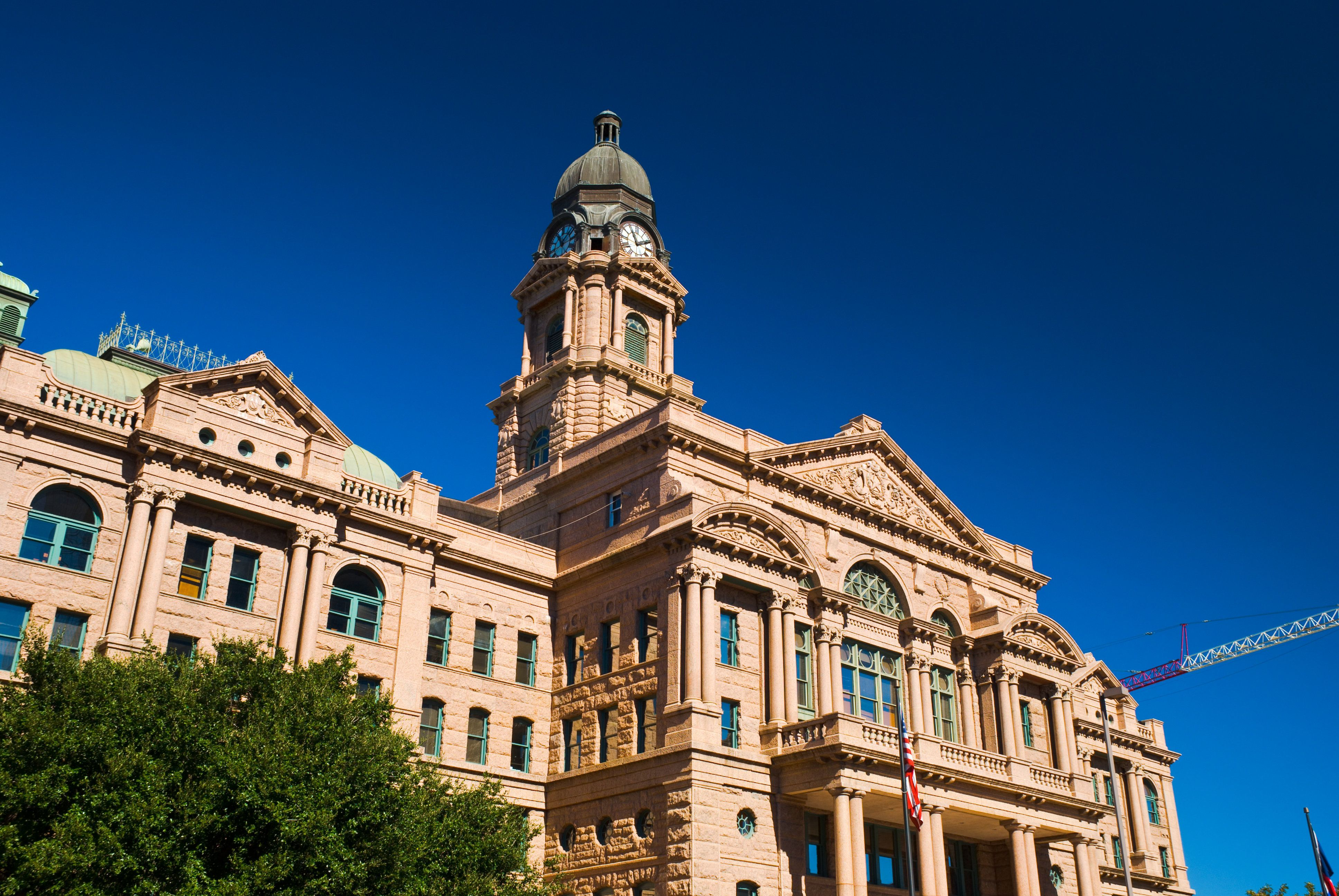 Wide angle view of Tarrant County Courthouse in Fort Worth, Texas