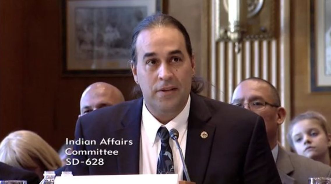Bryan Rice, pictured here during a Senate hearing in October, was appointed as director of the Bureau of Indian Affairs in Oc