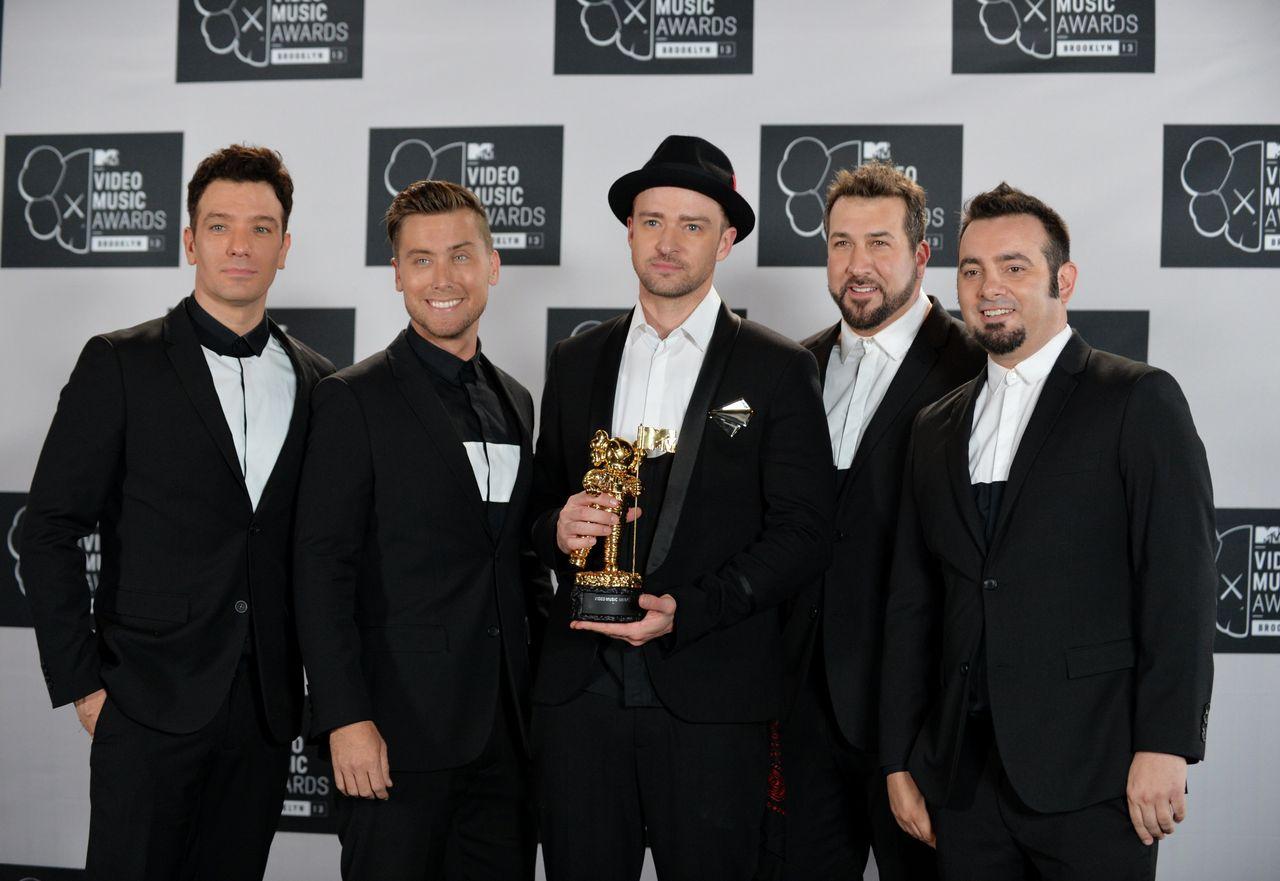 *NSYNC reunites for Justin Timberlake's Vanguard award performance at the 2013 MTV Video Music Awards.