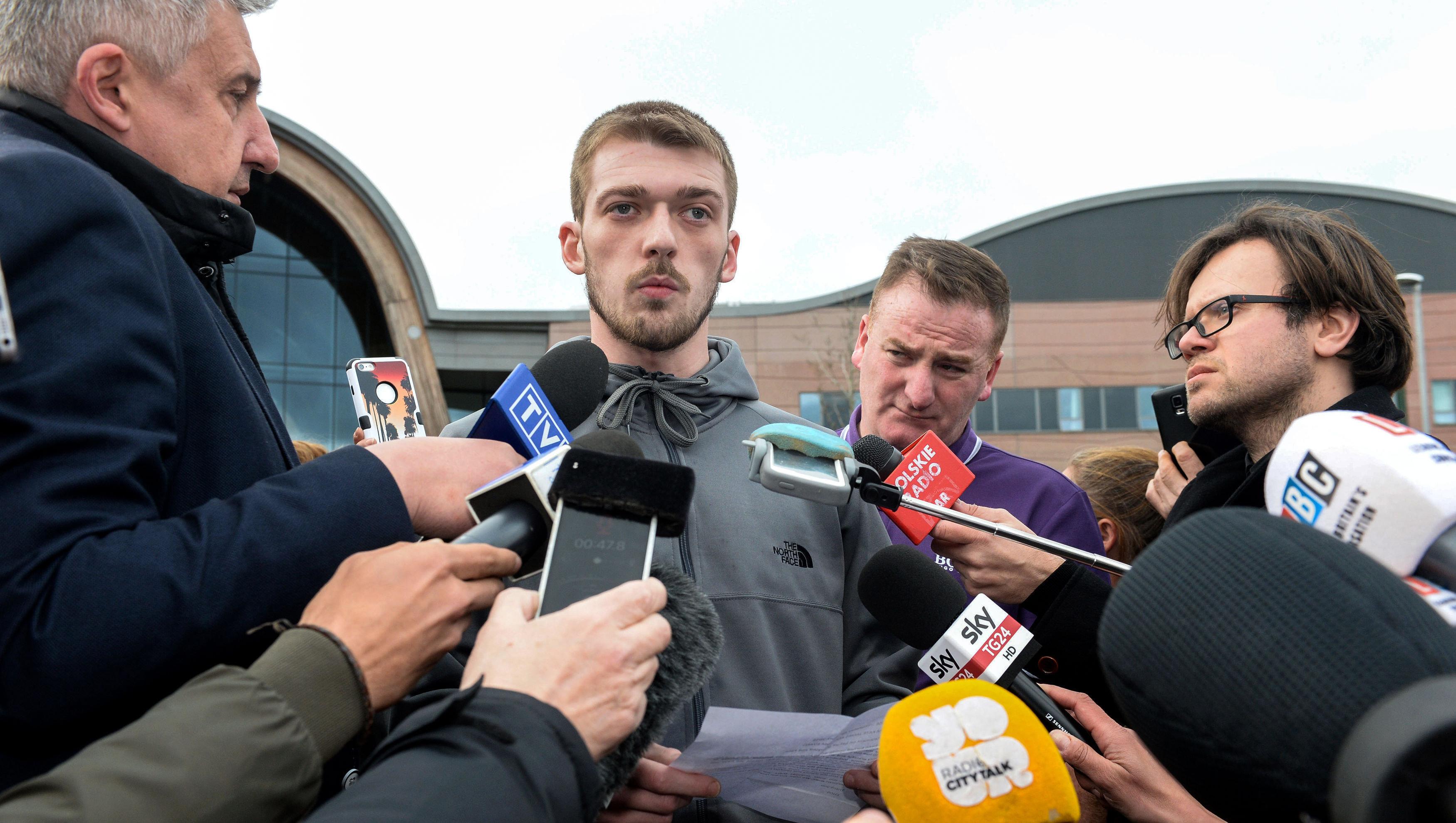 Tom Evans speaks to the media outside Liverpool's Alder Hey Children's Hospital.