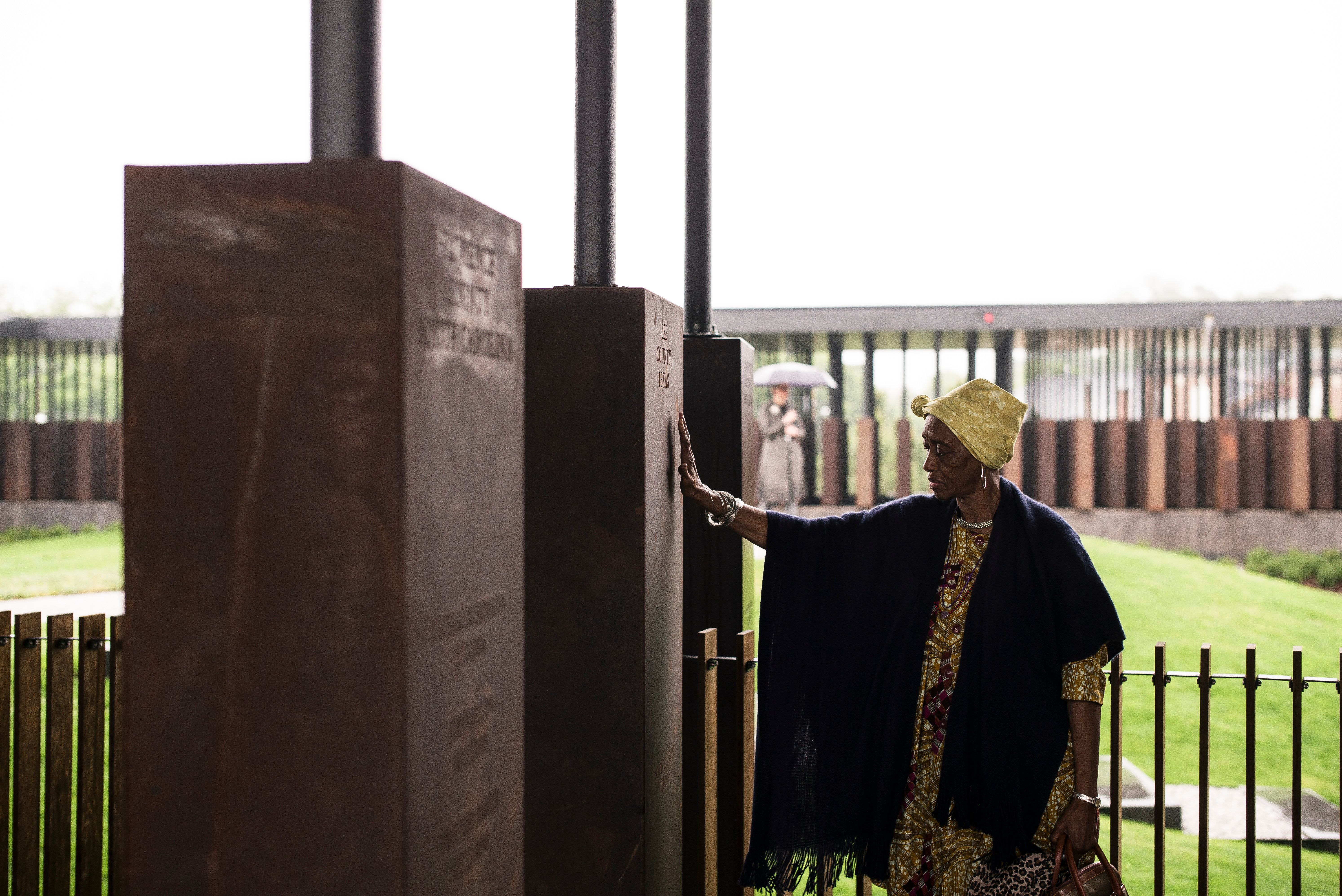 Wretha Hudson, 73, discovers a marker commemorating lynchings in Lee County, Texas, where her father's...