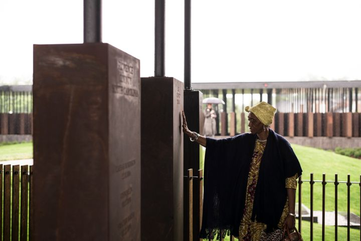 Wretha Hudson, 73, discovers a marker commemorating lynchings in Lee County, Texas, where her father's family was from.
