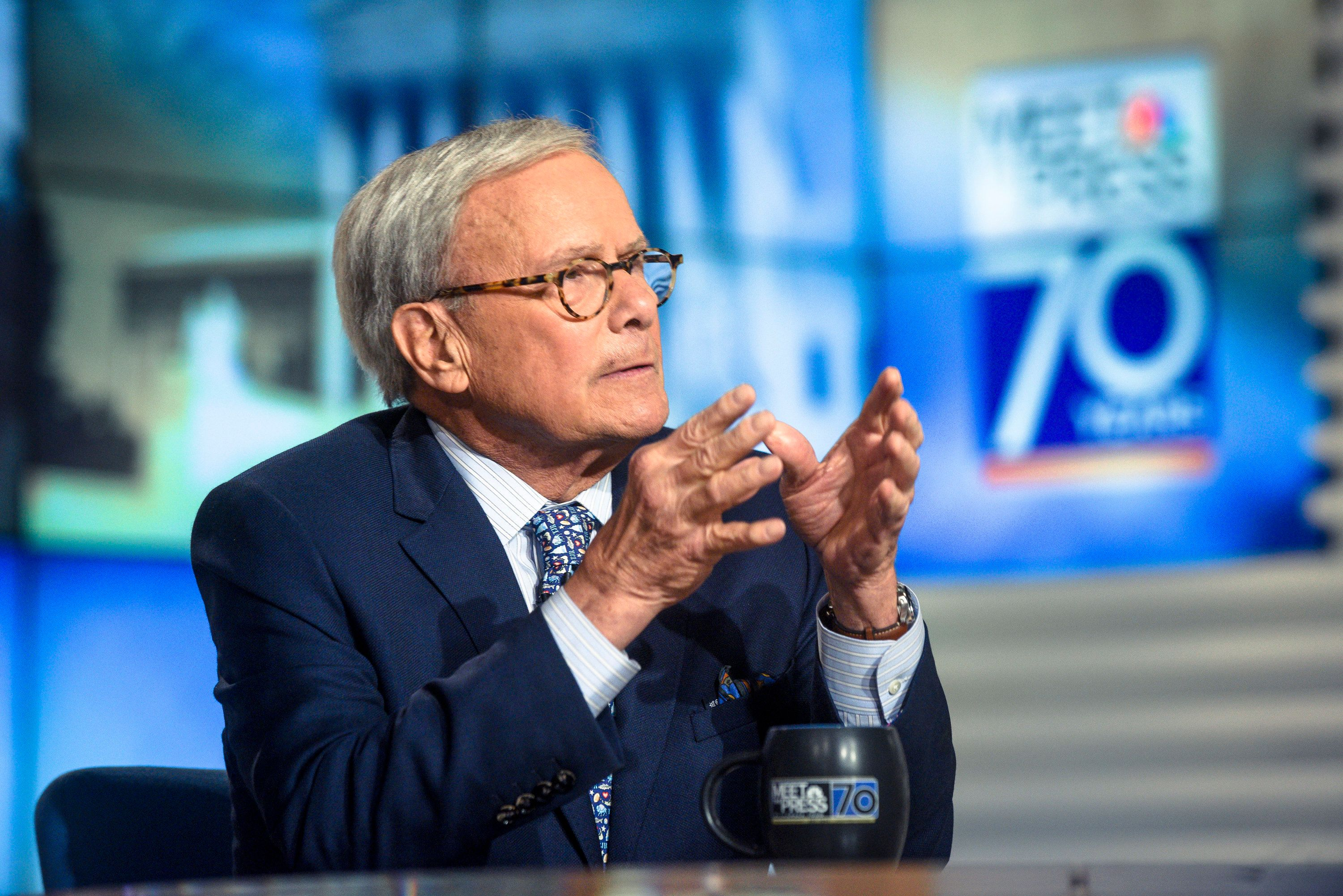 MEET THE PRESS -- Pictured: (l-r)   Tom Brokaw, NBC News Special Correspondent, appears on 'Meet the Press' in Washington, D.C., Sunday, Nov. 5, 2017.  (Photo by: William B. Plowman/NBC/NBC NewsWire via Getty Images)