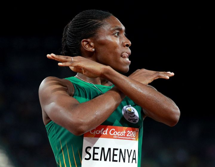 Olympic gold-medal winner Caster Semenya celebrates a victory in the women's 1,500-meter race at the Gold Coast 2018 Com