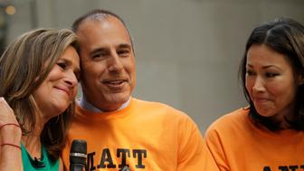 Matt Lauer gets close to Meredith Vieira on her last day in 2011 as Ann Curry looks on