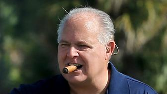 WEST PALM BEACH, FL - MARCH 09:  Marvin Shanken and Rush Limbaugh during the Ernie Els Els for Autism pro-am at the Old Palm CC on March 9, 2015 in West Palm Beach, Florida.  (Photo by David Cannon/Getty Images)