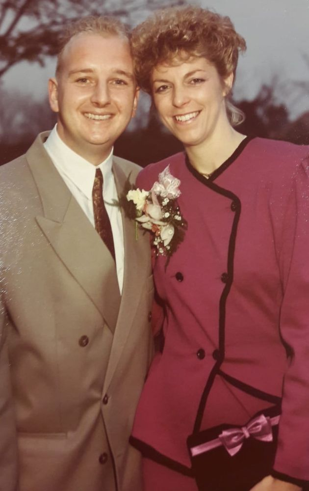 Aimee Meade's mother Janice on her wedding day with her father in