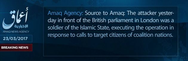 A news update from Islamic States Amaq news agency about a terrorist attack in