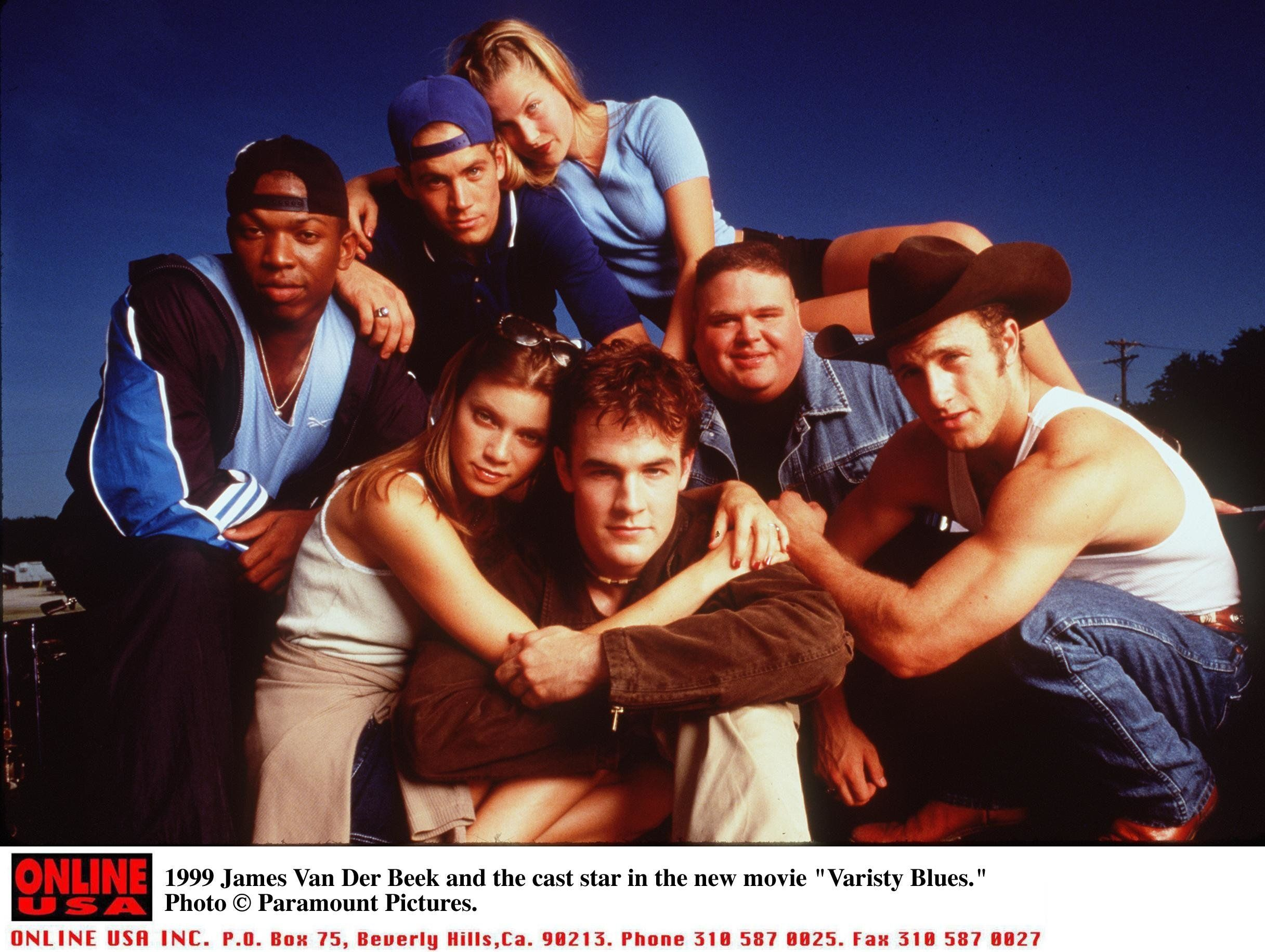 1999 James Van Der Beek And The Cast Star In The New Movie 'Varsity Blues.' (Photo By Getty Images)