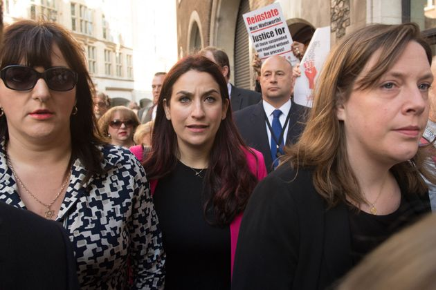 Labour MPs Ruth Smeeth (left), Luciana Berger (centre) and Jess Philllips (right) at a demonstration...