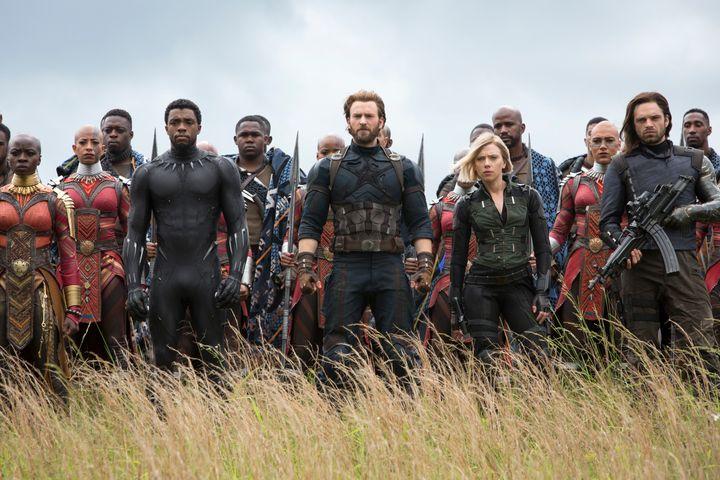 "Danai Gurira, Chadwick Boseman, Chris Evans, Scarlet Johansson and Sebastian Stan in ""Avengers: Infinity War."""
