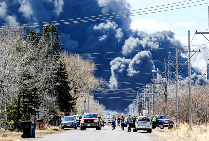 Dark smoke rises from Husky Energy oil refinery following an explosion in Superior, Wisconsin, U.S., April 26, 2018.