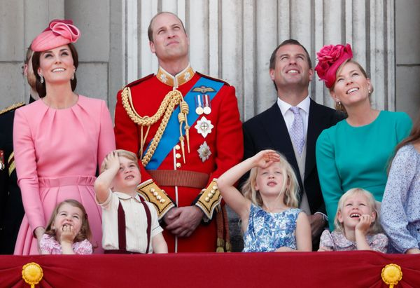 And Peter's two children with his wife, Autumn Phillips, Savannah and Isla (bottom right), are next in line, respectively.