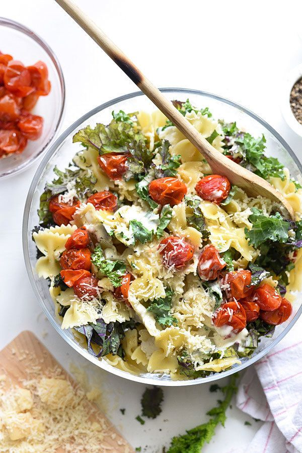 "<strong>Get the <a href=""https://www.foodiecrush.com/kale-caesar-pasta-salad/"" target=""_blank"">Kale Caesar Pasta Salad</a> re"