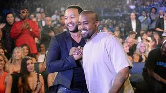 LOS ANGELES, CA - AUGUST 30:  Recording artists John Legend (L) and Kanye West attend the 2015 MTV Video Music Awards at Microsoft Theater on August 30, 2015 in Los Angeles, California.  (Photo by Jeff Kravitz/MTV1415/FilmMagic)