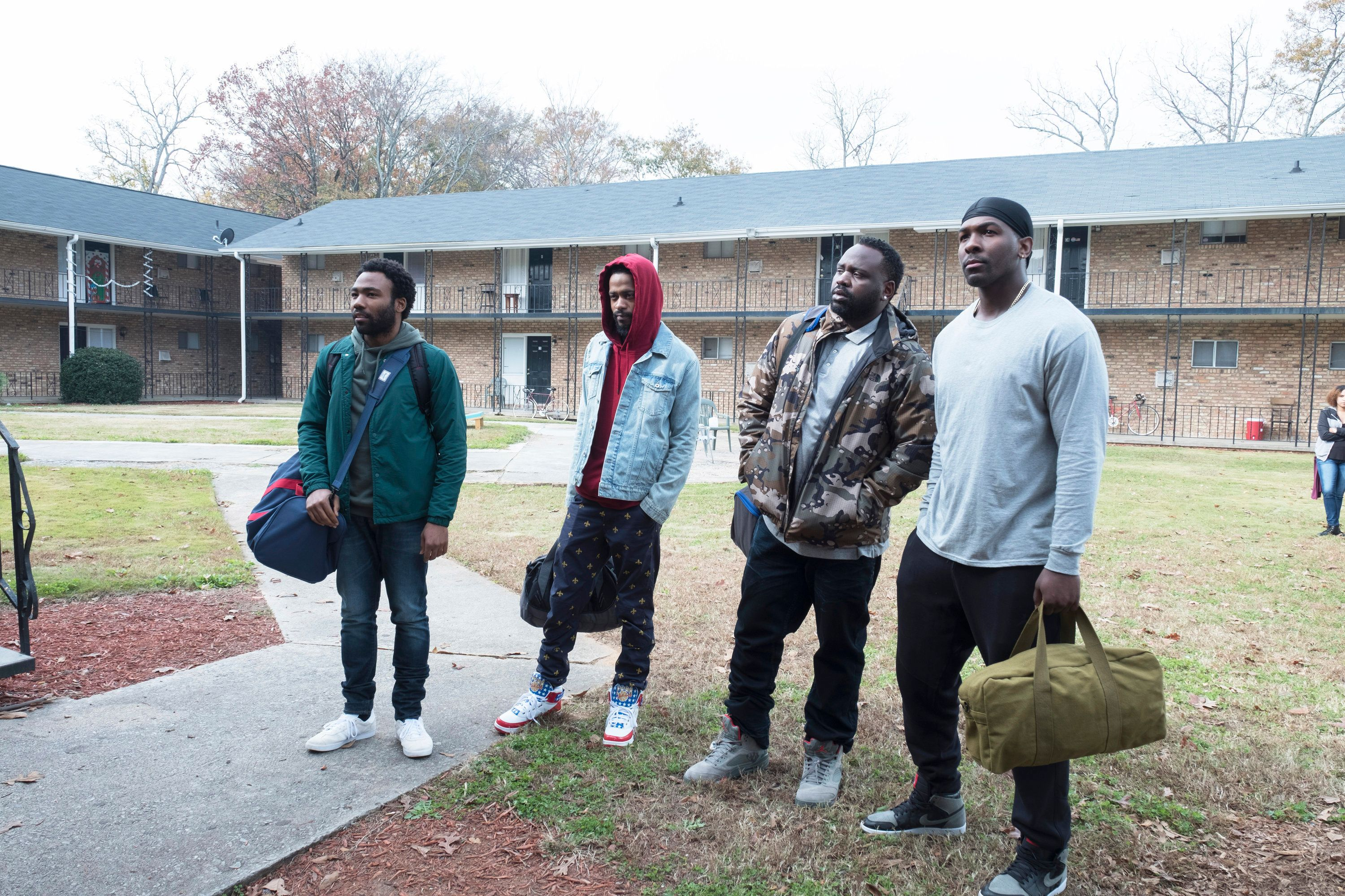 "ATLANTA Robbin' Season -- ""North of the Border"" -- Season Two, Episode 9 (Airs Thursday, April 26, 10:00 p.m. e/p) Pictured: (l-r) Donald Glover as Earnest Marks, Lakeith Stanfield as Darius, Brian Tyree Henry as Alfred Miles, Khris Davis as Tracy. CR: Guy D'Alema/FX"