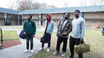 """ATLANTA Robbin' Season -- """"North of the Border"""" -- Season Two, Episode 9 (Airs Thursday, April 26, 10:00 p.m. e/p) Pictured: (l-r) Donald Glover as Earnest Marks, Lakeith Stanfield as Darius, Brian Tyree Henry as Alfred Miles, Khris Davis as Tracy. CR: Guy D'Alema/FX"""