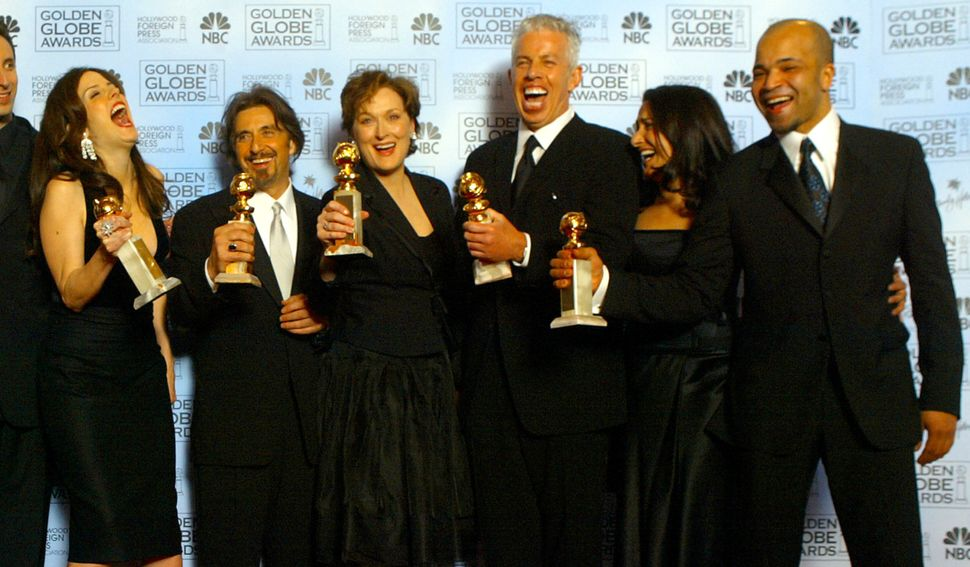 "The cast of ""Angels in America"" (from left, Mary Louise Parker, Al Pacino, Meryl Streep, Executive Producer Cary Brokaw"
