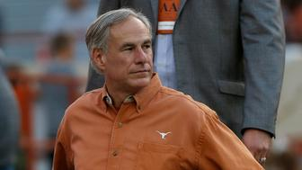 AUSTIN, TX - APRIL 21: Texas Governor Greg Abbott attends the Orange-White Spring Game at Darrell K Royal-Texas Memorial Stadium on April 21, 2018 in Austin, Texas. (Photo by Tim Warner/Getty Images)